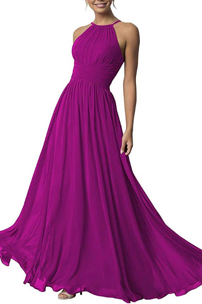 Chiffon Bridesmaid Dresses Long Aline Open Back Women's Formal Prom Evening Gown