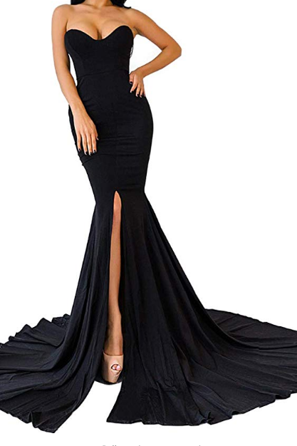 Womens Strapless Asymmetric Slit Front Evening Party Wedding Maxi Dress