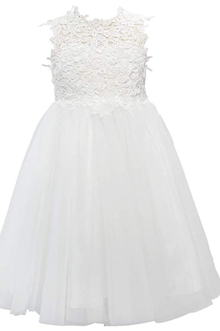 Lace Tulle Wedding Flower Girl Dress Junior Bridesmaid Dress