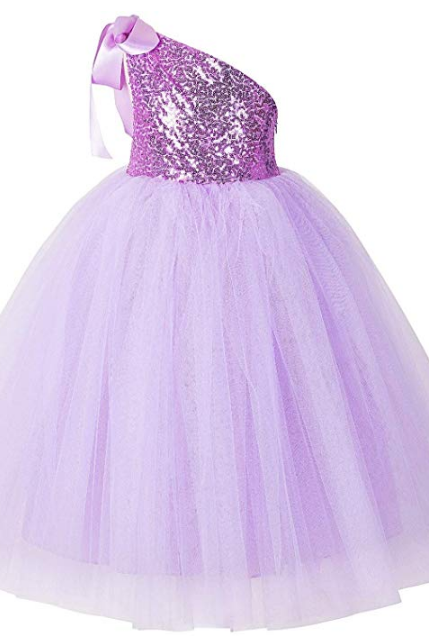 One-Shoulder Sequin Tutu Flower Girl Dress Wedding Pageant Dresses Ball Gown Tutu Dresses