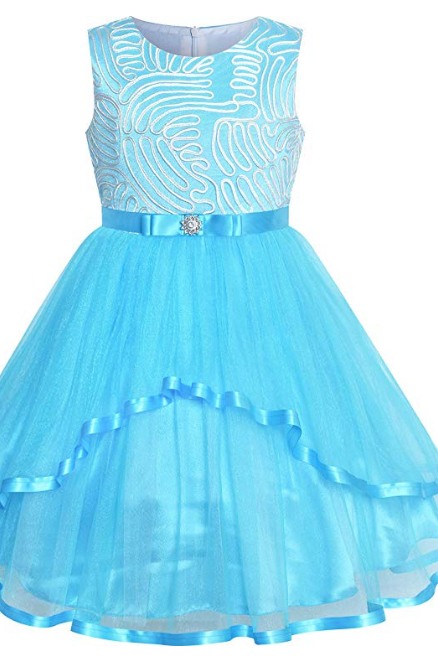 Flower Girls Dress Blue Belted Wedding Party Bridesmaid dress