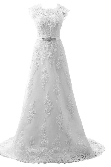Wedding Dress Lace Bridal Dresses with Crystal Sash Wedding Gown A Line Bride Dress Cap Sleeve
