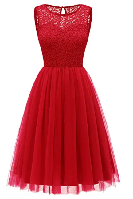 Women's Short Tulle Prom Dress Lace Bridesmaid Party Dress Junior Cocktail Swing Dress