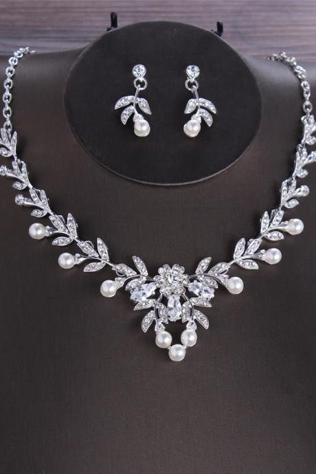 Bridal necklace earrings zircon two-piece jewelry evening dress with accessories