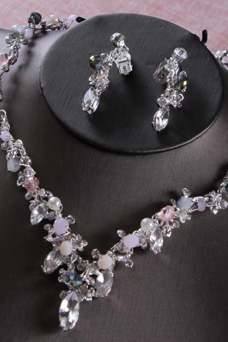 Bridal jewelry three-piece suit wedding dress accessories handmade crown necklace earrings