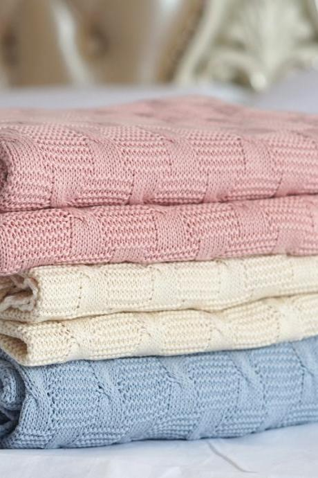 Cotton knitted blanket cashmere feel cotton air-conditioned sofa quilt baby blanket