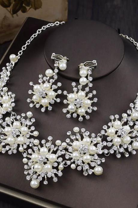 Bridal jewelry two-piece high-end pearl headdress necklace earring set