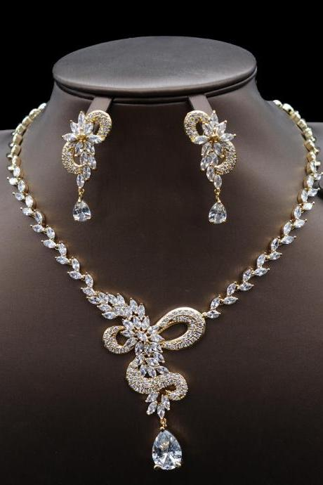 Bridal Zircon Necklace Earring Jewelry Set Gifts Suitable for Wedding Dresses