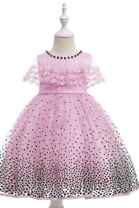 Children's dress small cape cape lace wave dot flocking princess dress skirt dress