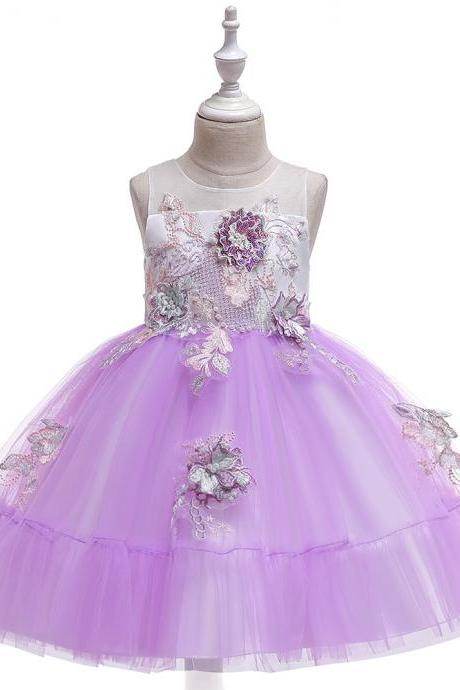 Children's Dress 2019 New Beaded Crystal Mesh Princess Dress Embroidered Tube Top Hollow Girl Wedding Dress