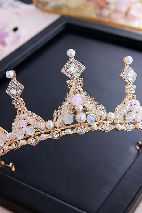 Golden wedding crown wedding simple atmospheric hair accessories wedding dress queen crown super fairy