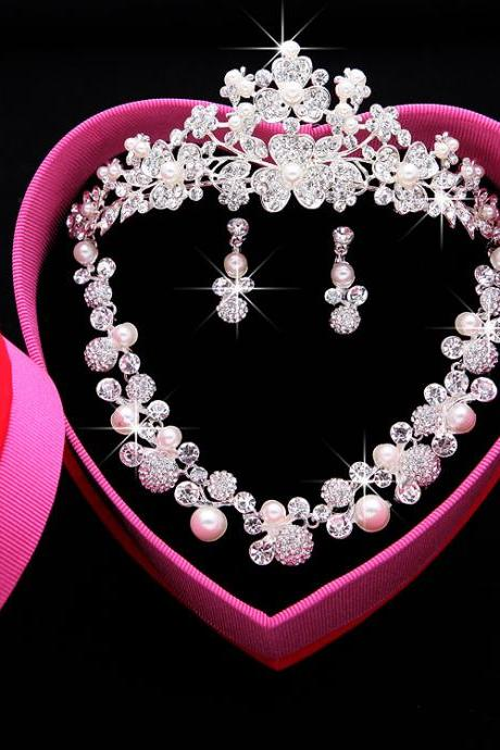 Pearl rhinestone bridal jewelry crown head jewelry necklace three-piece knot knot wedding accessories set