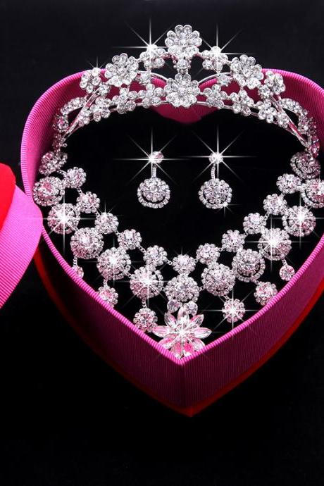 Bridal Crown Necklace Earrings Korean Shiny Rhinestone Wedding Bridal Jewelry Three-Piece Set