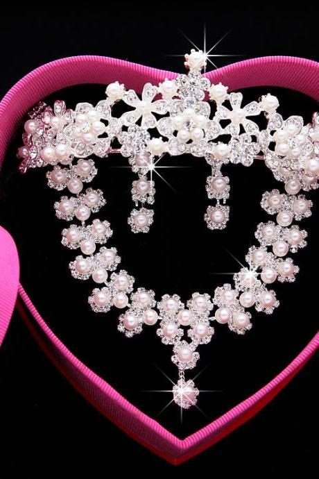 Bridal wedding headdress three-piece crown wedding dress pearl accessories Korean necklace earrings hair accessories