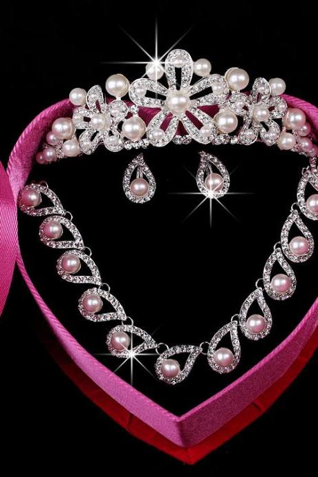 Korean Bridal Jewelry Crown Wedding Wholesale Jewelry Set Necklace Set Ornament Set