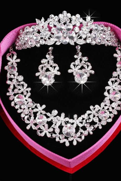 Women's Crystal Ear Bridal Jewelry Set Suzhou Jewelry Set Wedding Jewelry