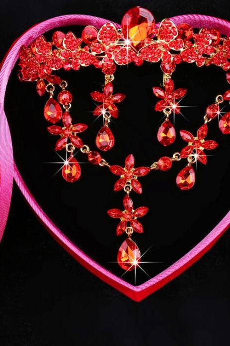 Bridal Wedding Jewelry Korean Red Bridal Jewelry Set with Crystals