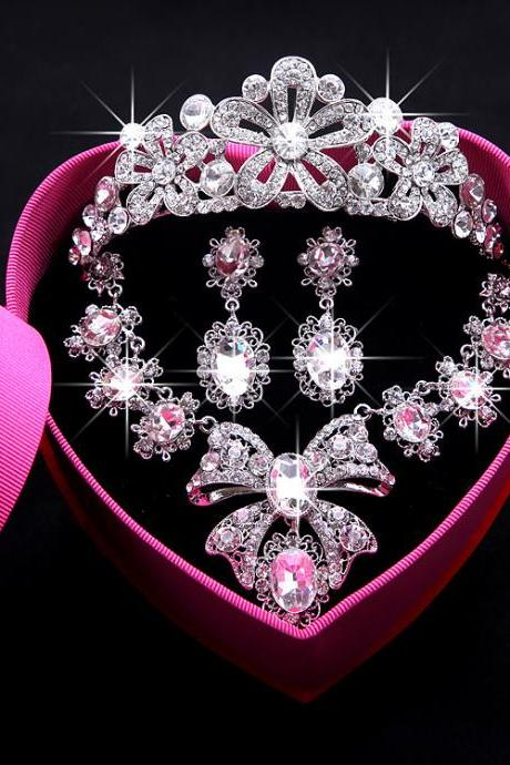Bridal crown three-piece suit Korean wedding jewelry jewelry hair accessories necklace earrings wedding accessories