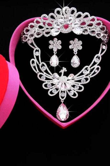 Bridal jewelry three-piece suit red Korean wedding wedding dress cheongsam accessories crown headdress bridal necklace
