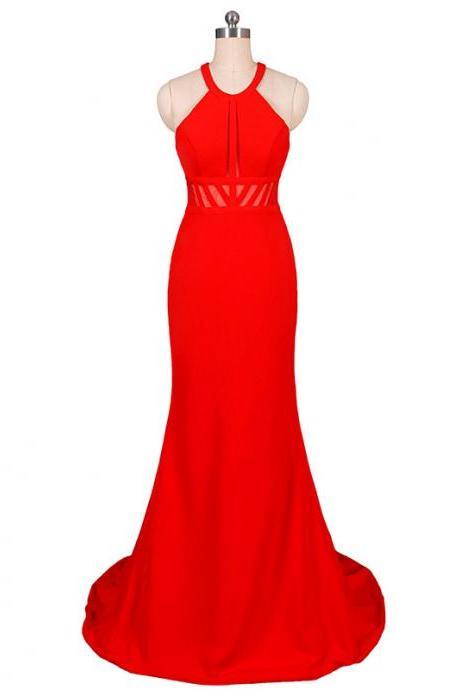Red Halter Tube Top Perspective Long Evening Dress Banquet Fishtail Dress