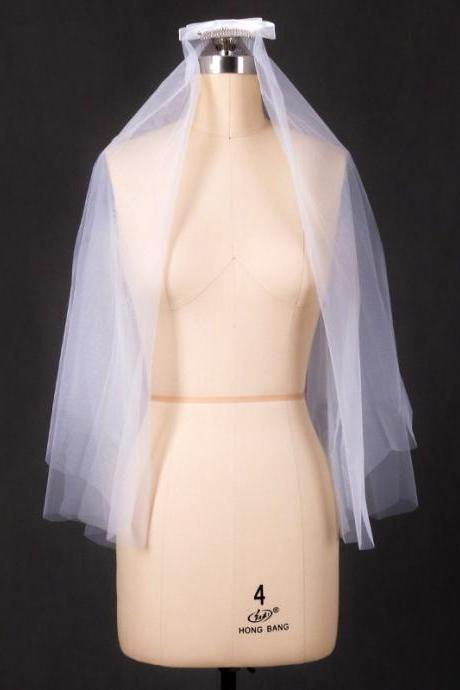 Bridal veil double white short veil Korean style simple accessory veil
