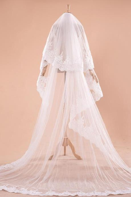 Bridal veil embroidery lace lace long tail wedding veil