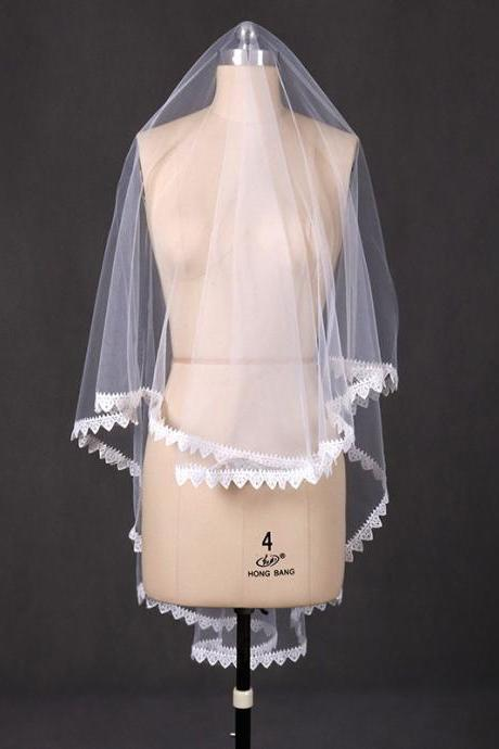 New wedding veil short female bride Korean simple lace lace veil