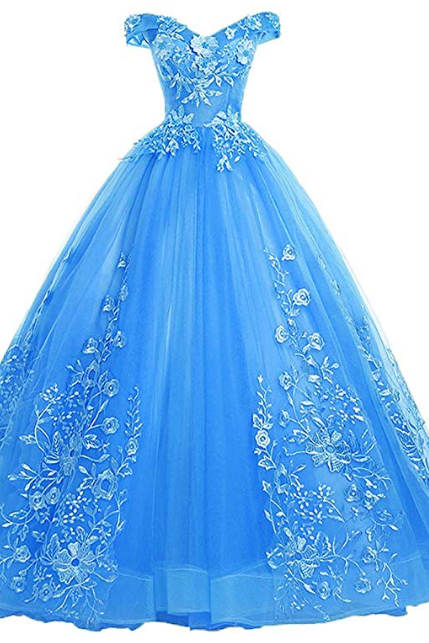 Women's Quinceanera Dresses Lace Appliques Off Shoulder Ball Gown Sweet Dresses with Pearl