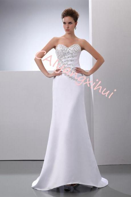 Women's Heart Neckline Satin Beaded Wedding Dress