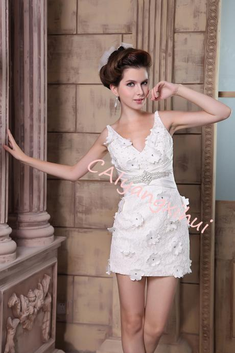 Women's Sleeveless Floral Lace Short Dress Ball gown