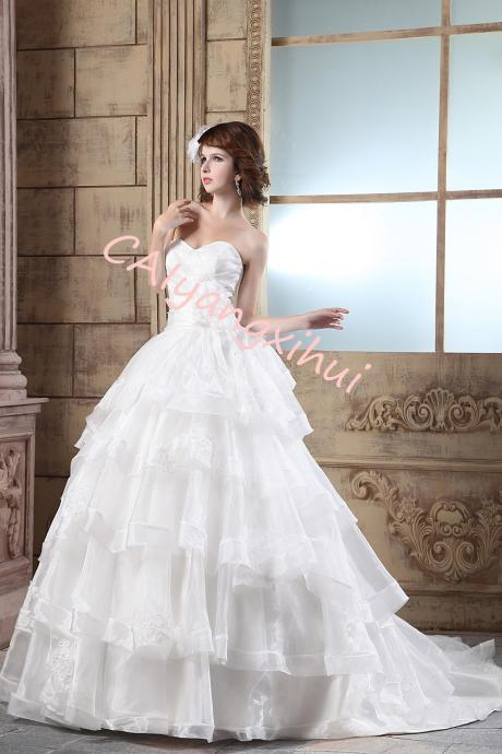 Women's Organza Ruffles Ball Gown Wedding Dresses Bride Dress