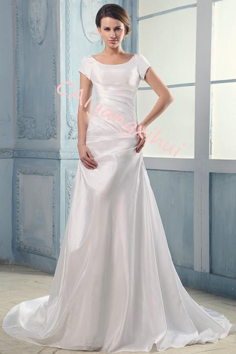 Women White Wedding Dress Bride A Line Dress