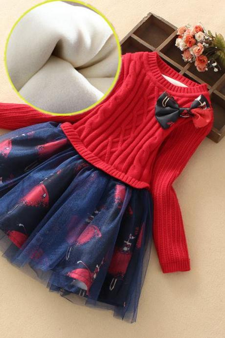 Girl's knitted sweater dress plus velvet children's baby skirt long sleeve dress