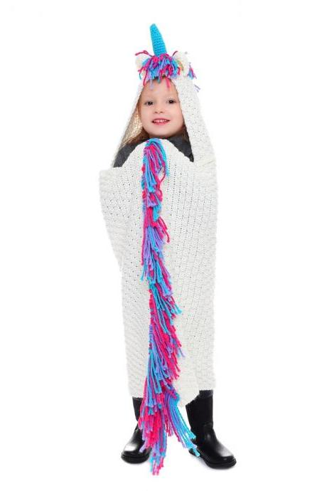 Children's scarf cartoon unicorn shawl autumn and winter warm wool jumper cape knitted blanket
