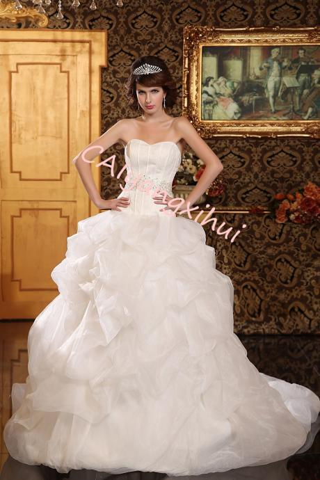 Women's Organza Ball Gown Wedding Dresses Bride Dress