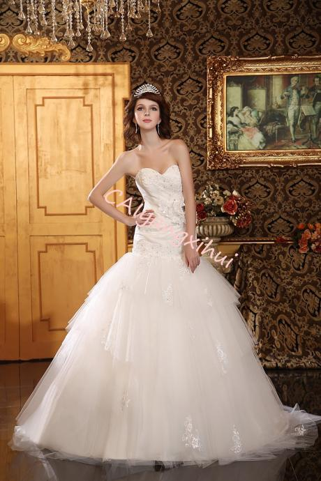 Womens Formal Strapless Sweetheart Mermaid Wedding Dress Lace Bridal Dress