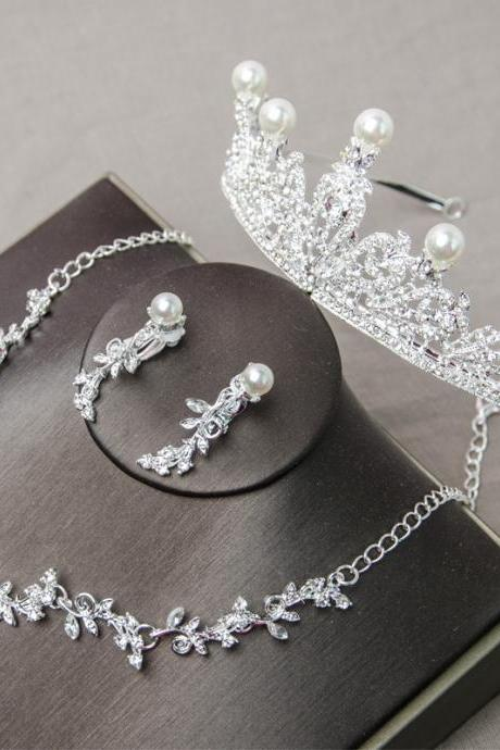 Bridal headdress three-piece Korean wedding jewelry wedding accessories crown necklace earrings hair accessories set