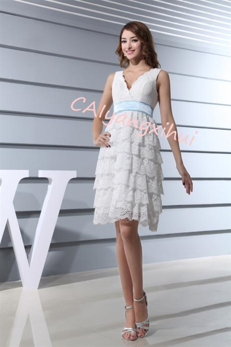 Women's Lace Tulle Prom Dresses3D Flower Short V Neck Bridesmaid Homecoming Gown