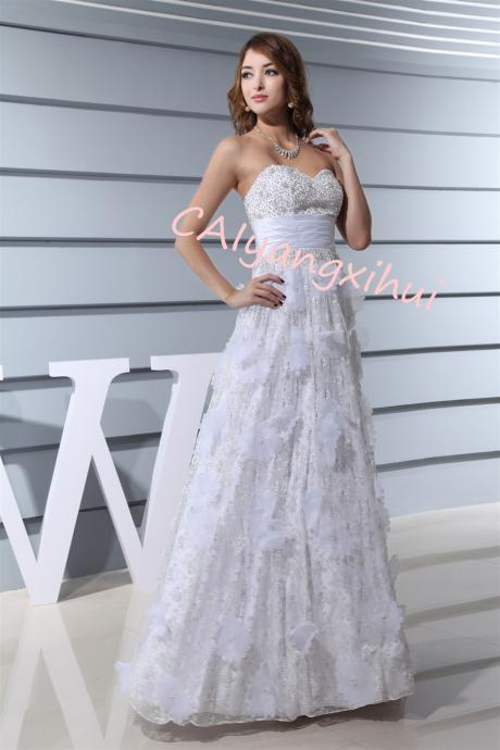 Women's lace Long dress 3D Flower Prom Party Dress Backless Formal Evening Gown