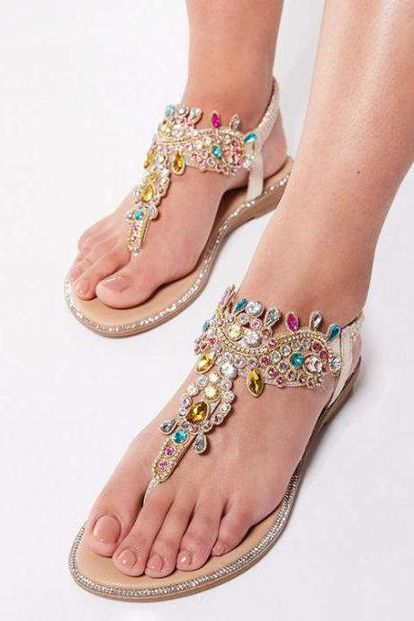 Sandals Color Diamond Beach Sandals Round Toe Flats Casual Plus Size Sandals