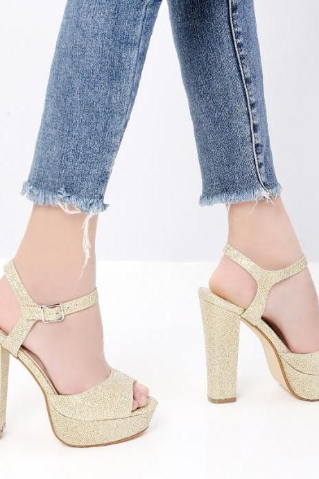 Summer sandals high-heeled women's shoes shiny open-toe thick heels plus size high-heeled shoes