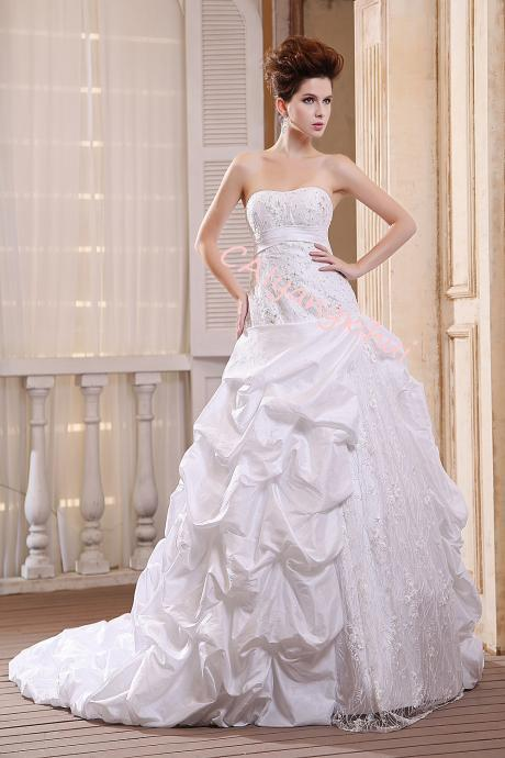 Bride Wedding Dress Silk Satin Wedding Cathedral Wedding Dress