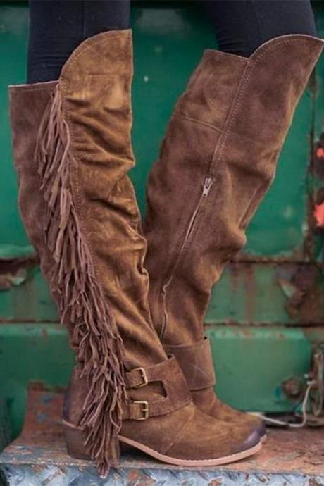 Winter new European and American style thick and large size long tube tassel boots women boots