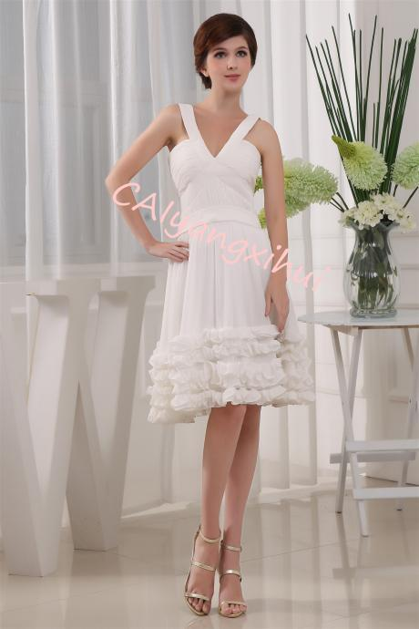 Chiffon Bridesmaid Dresses Halter Cocktail Dress Short Homecoming Party Dresses