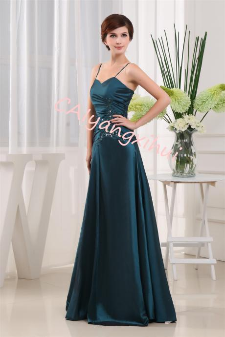 Women's Long Taffeta A-line Beading Bridesmaid Dresses Prom Gowns
