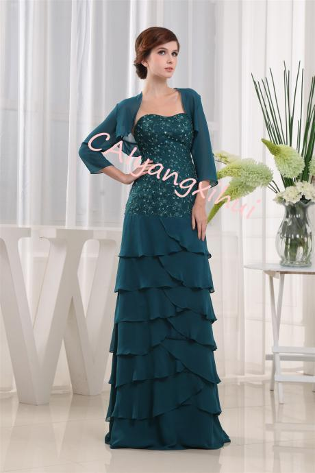 Women's Formal Lace Evening Maxi Dress Gown Sequins 3/4 Sleeves Long Dress