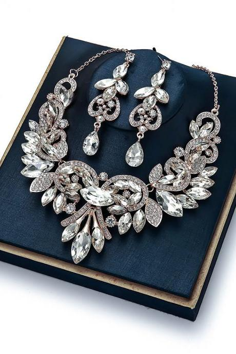 Bridal Accessories Set Earring Necklace Two-Piece Two-Tone Highlight Rhinestone Alloy Necklace