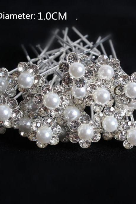 40 pcs Wedding Bridal Pearl Flower Crystal Hair Pins Clips Women Headwear Hair Accessories
