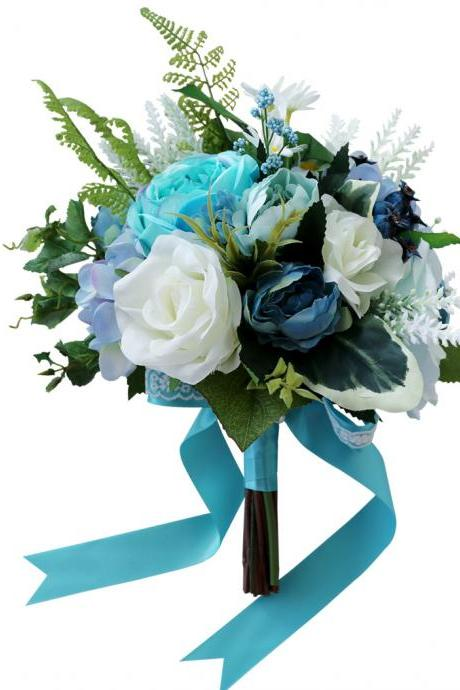 Bride holding bouquet simulation T blue theme wedding gift wedding bouquet