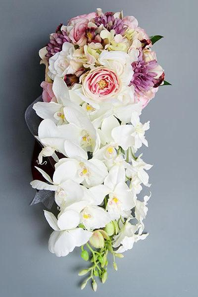 Bridal bouquet water drop waterfall bride holding bouquet Korean wedding simulation silk flower